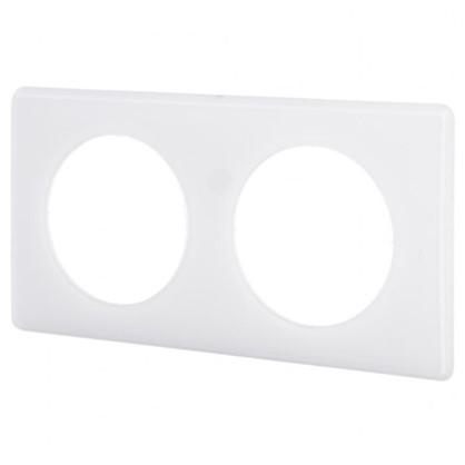 Рамка для розеток и выключателей Celiane 2 2 поста цвет перкаль белый