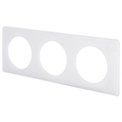 Рамка для розеток и выключателей Celiane 2 3 поста цвет белый глянец