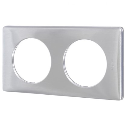 Купить Рамка для розеток и выключателей Celiane 2 поста цвет алюминий дешевле