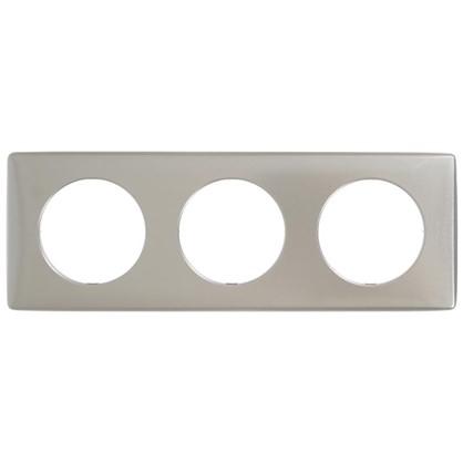 Рамка для розеток и выключателей Celiane 3 поста цвет титан