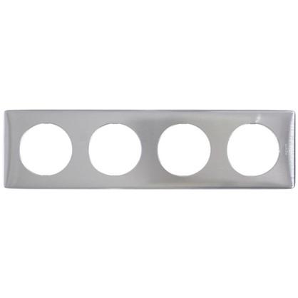 Купить Рамка для розеток и выключателей Celiane 4 поста цвет алюминий дешевле