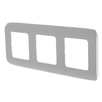 Купить Рамка для розеток и выключателей Cosy 3 поста цвет серый дешевле
