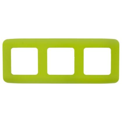Рамка для розеток и выключателей Cosy 3 поста цвет зеленый