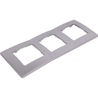 Рамка для розеток и выключателей Etika 3 поста цвет алюминий