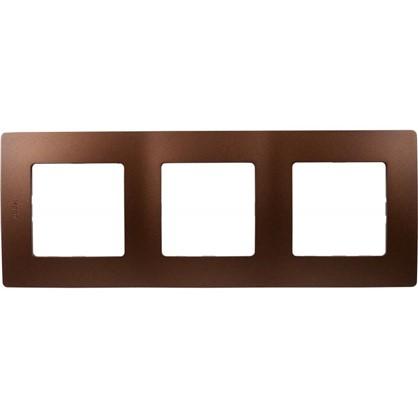 Купить Рамка для розеток и выключателей Etika 3 поста цвет какао дешевле