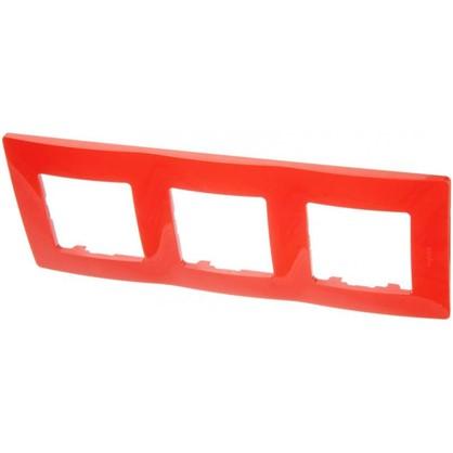 Рамка для розеток и выключателей Etika 3 поста цвет красный
