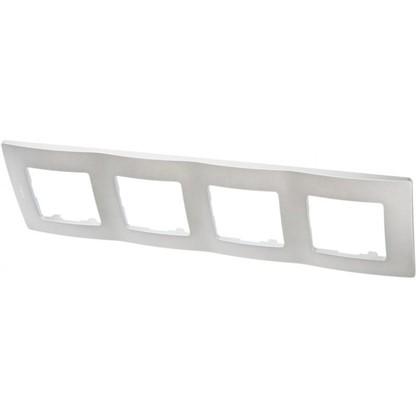 Рамка для розеток и выключателей Etika 4 поста цвет алюминий
