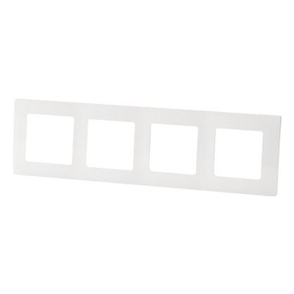 Рамка для розеток и выключателей Etika 4 поста цвет белый