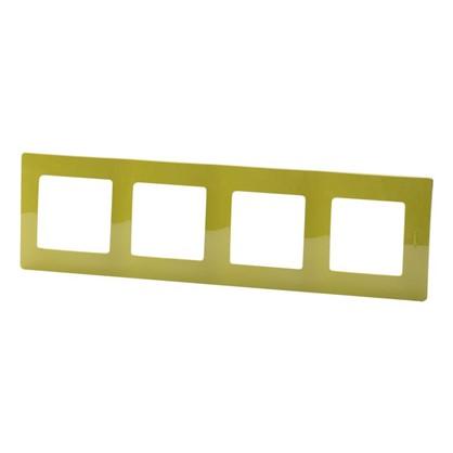 Рамка для розеток и выключателей Etika 4 поста цвет зеленый папоротник
