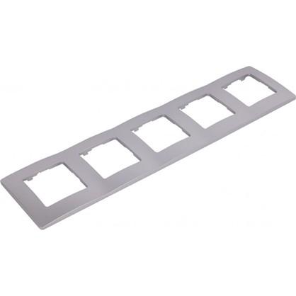 Рамка для розеток и выключателей Etika 5 постов цвет алюминий