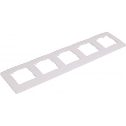 Рамка для розеток и выключателей Etika 5 постов цвет белый