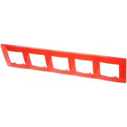 Рамка для розеток и выключателей Etika 5 постов цвет красный