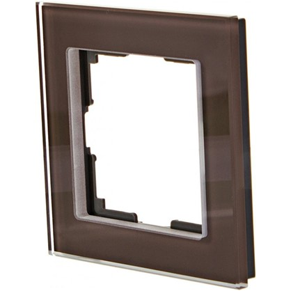 Рамка для розеток и выключателей Favorit 1 пост цвет коричневый