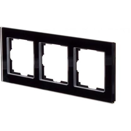 Купить Рамка для розеток и выключателей Favorit 3 поста цвет чёрный дешевле