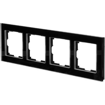 Рамка для розеток и выключателей Favorit 4 поста цвет чёрный