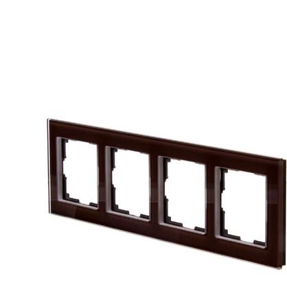 Рамка для розеток и выключателей Favorit 4 поста цвет коричневый