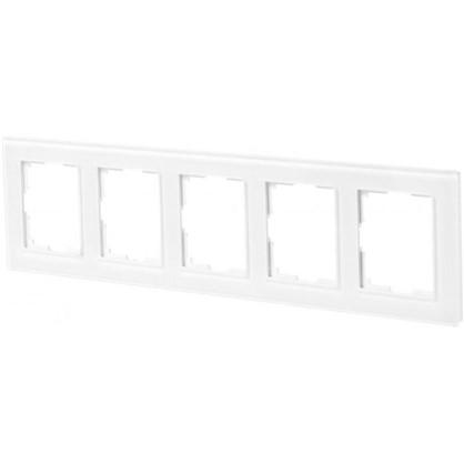 Рамка для розеток и выключателей Favorit 5 постов цвет белый
