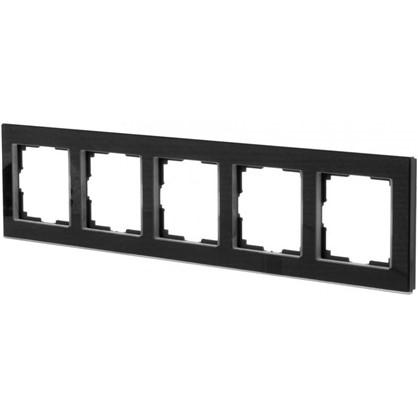 Рамка для розеток и выключателей Favorit 5 постов цвет чёрный