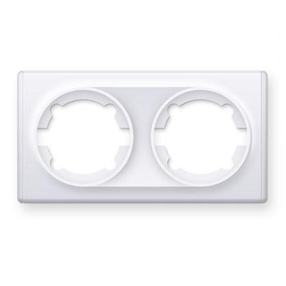 Рамка для розеток и выключателей Florence горизонтальная 2 поста цвет белый
