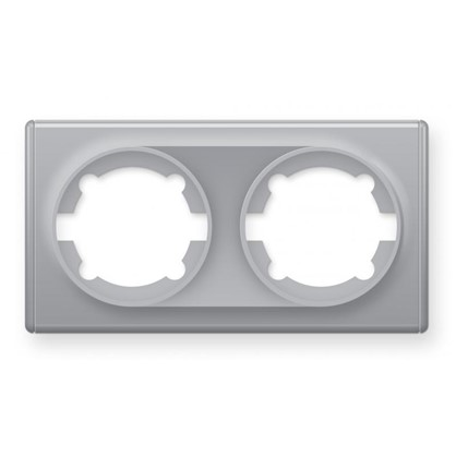 Рамка для розеток и выключателей Florence горизонтальная 2 поста цвет серый