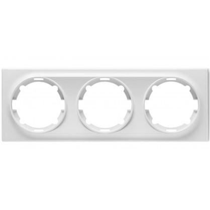 Рамка для розеток и выключателей Florence горизонтальная 3 поста цвет белый
