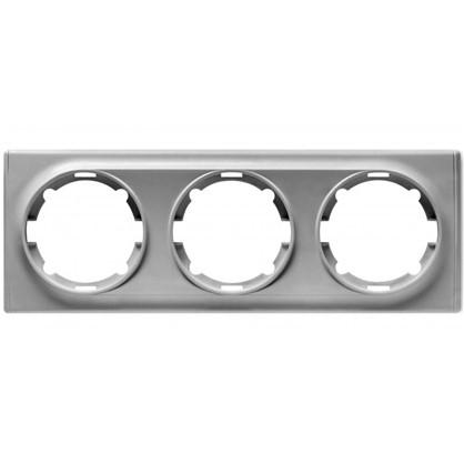 Рамка для розеток и выключателей Florence горизонтальная 3 поста цвет серый