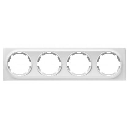 Рамка для розеток и выключателей Florence горизонтальная 4 поста цвет белый