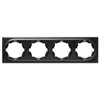 Рамка для розеток и выключателей Florence горизонтальная 4 поста цвет чёрный