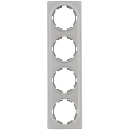 Купить Рамка для розеток и выключателей Florence горизонтальная 4 поста цвет серый дешевле