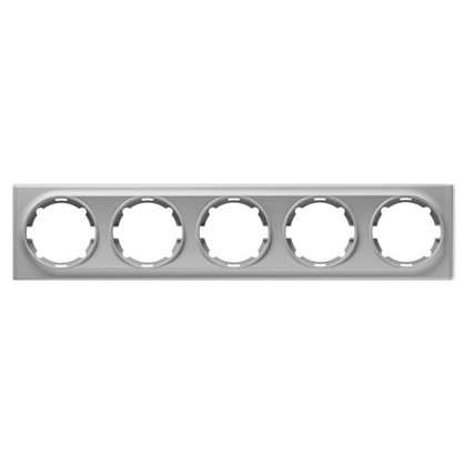 Рамка для розеток и выключателей Florence горизонтальная 5 постов цвет серый
