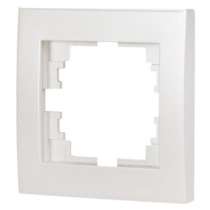 Рамка для розеток и выключателей горизонтальная 1 пост цвет жемчужно-белый