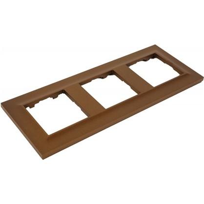 Рамка для розеток и выключателей Legrand 3 поста сталь цвет бронза