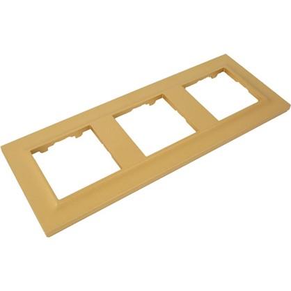 Рамка для розеток и выключателей Legrand 3 поста сталь цвет золото