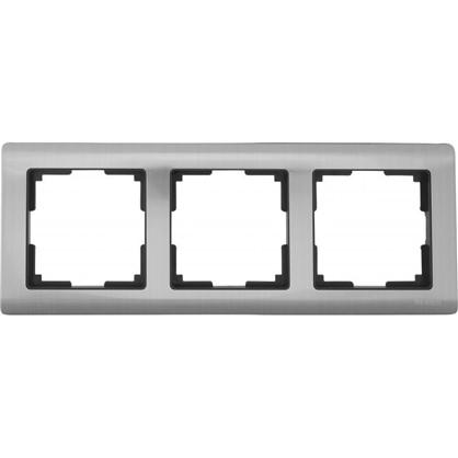 Рамка для розеток и выключателей Metallic 3 поста цвет глянцевый никель