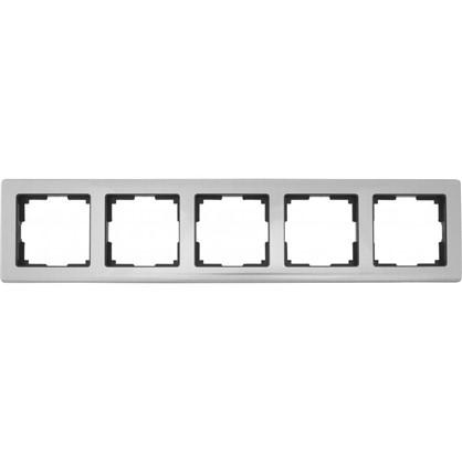 Рамка для розеток и выключателей Metallic 5 постов цвет глянцевый никель