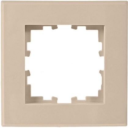 Рамка для розеток и выключателей плоская 1 пост цвет бежевый