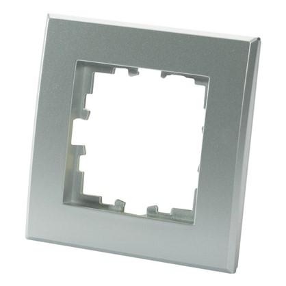 Рамка для розеток и выключателей плоская 1 пост цвет серебристый матовый
