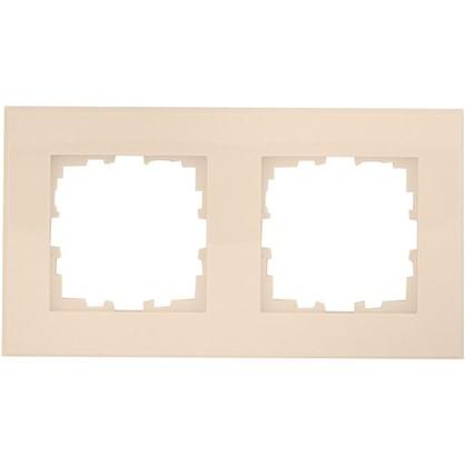 Купить Рамка для розеток и выключателей плоская 2 поста цвет бежевый дешевле