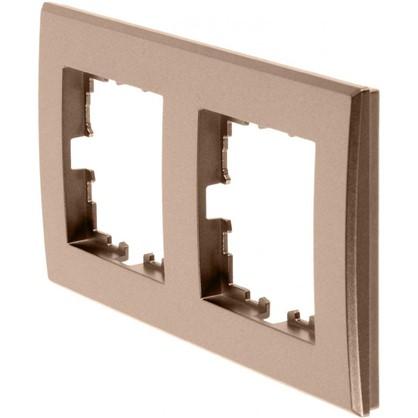 Купить Рамка для розеток и выключателей плоская 2 поста цвет бронза дешевле