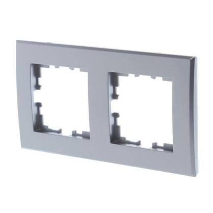 Купить Рамка для розеток и выключателей плоская 2 поста цвет серебро дешевле