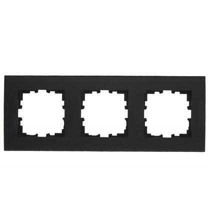 Рамка для розеток и выключателей плоская 3 поста цвет чёрный