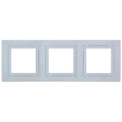 Рамка для розеток и выключателей Schneider Electric Unica декорированная 3 поста цвет белый