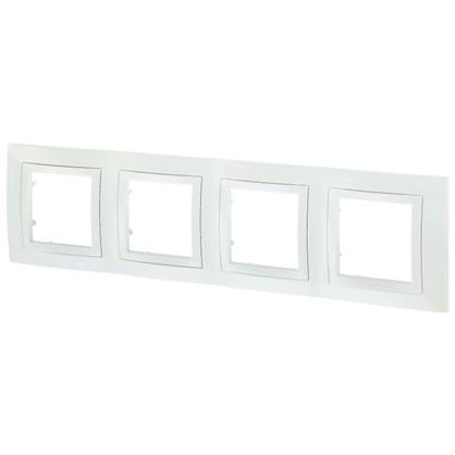 Рамка для розеток и выключателей Schneider Electric Unica декорированная 4 поста цвет белый