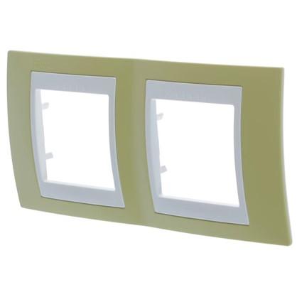 Рамка для розеток и выключателей Schneider Electric Unica хамелеон 2 поста горизонтальная цвет зелёное яблоко/белый