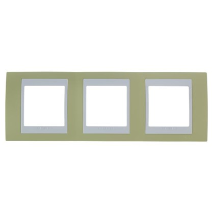 Рамка для розеток и выключателей Schneider Electric Unica хамелеон 3 поста горизонтальная цвет зелёное яблоко/белый