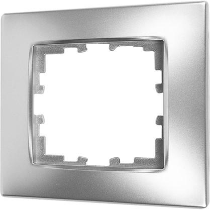 Рамка для розеток и выключателей сферическая 1 пост цвет серебро матовый