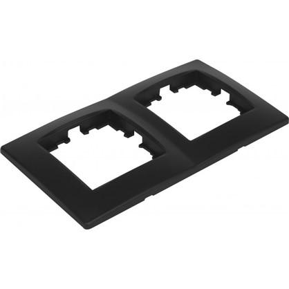 Рамка для розеток и выключателей сферическая 2 поста цвет чёрный бархат матовый