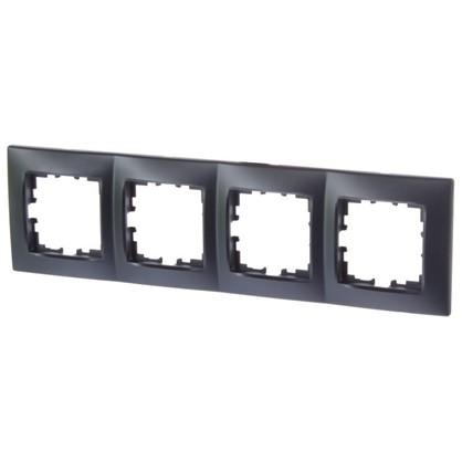 Рамка для розеток и выключателей сферическая 4 поста цвет чёрный бархат матовый
