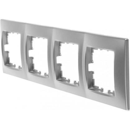 Рамка для розеток и выключателей сферическая 4 поста цвет матовое серебро