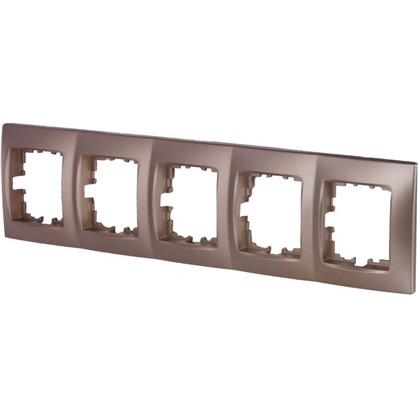Рамка для розеток и выключателей сферическая 5 постов цвет матовая бронза